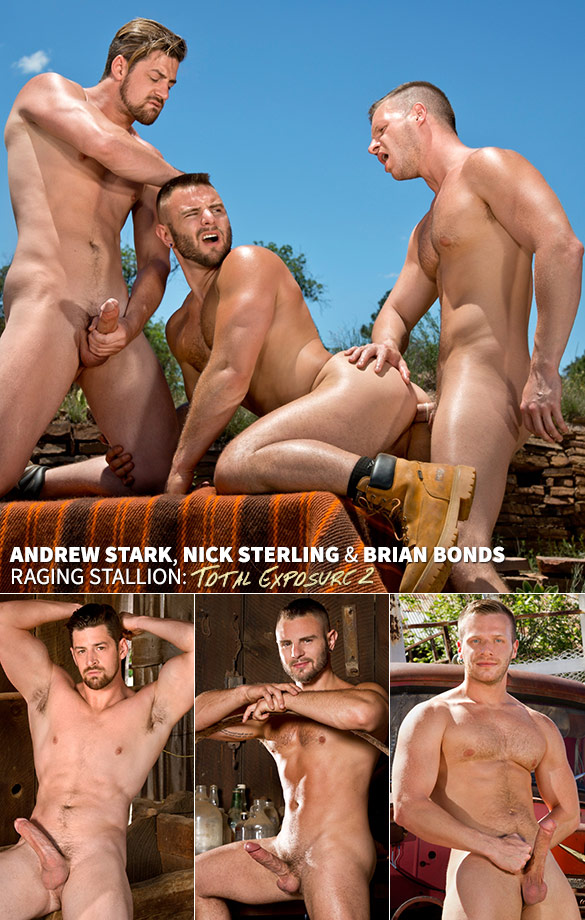 "Raging Stallion: Brian Bonds, Nick Sterling and Andrew Stark's threesome in ""Total Exposure 2"""