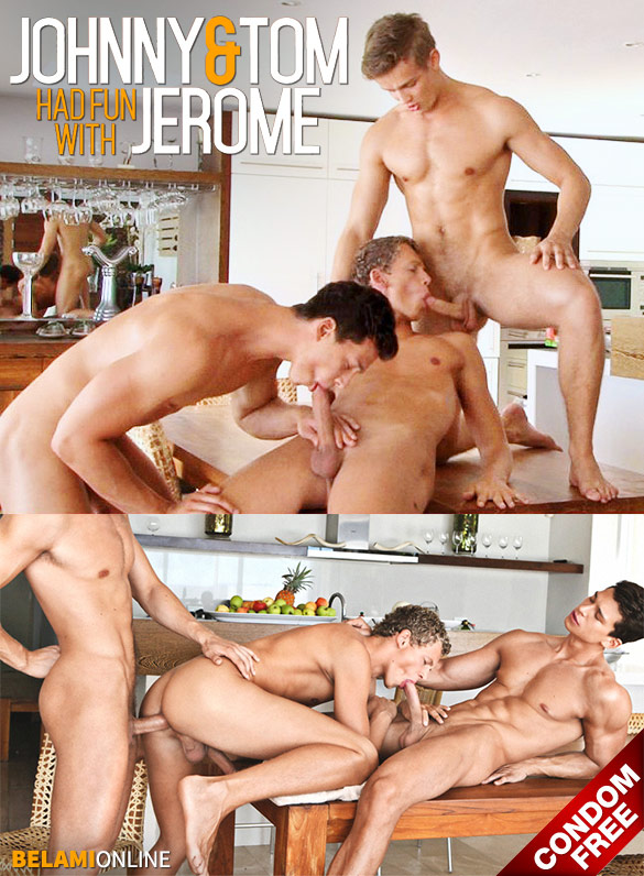 BelAmi: Johnny Bloom and Tom Pollock fuck Jerome Exupery bareback