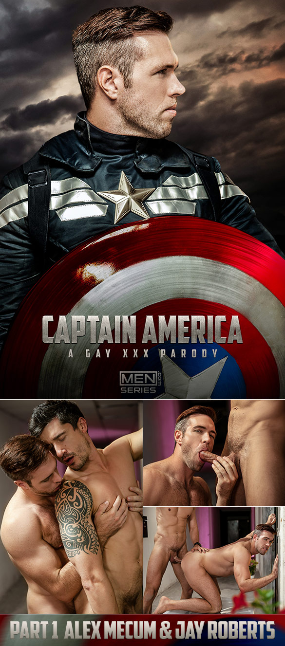 "Men.com: Alex Mecum and Jay Roberts flip fuck in ""Captain America: A Gay XXX Parody, Part 1"""