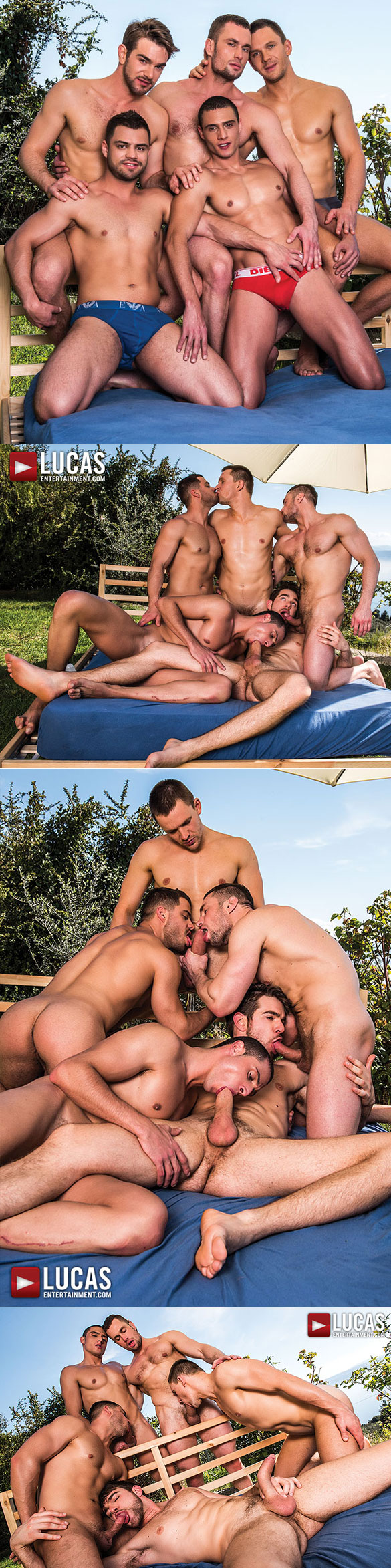 "Lucas Entertainment: Stas Landon, Andrey Vic, Zander Craze, Ares Fly and Javi Velaro's bareback sex party in ""Fully Loaded: Raw Double Penetrations 3"""