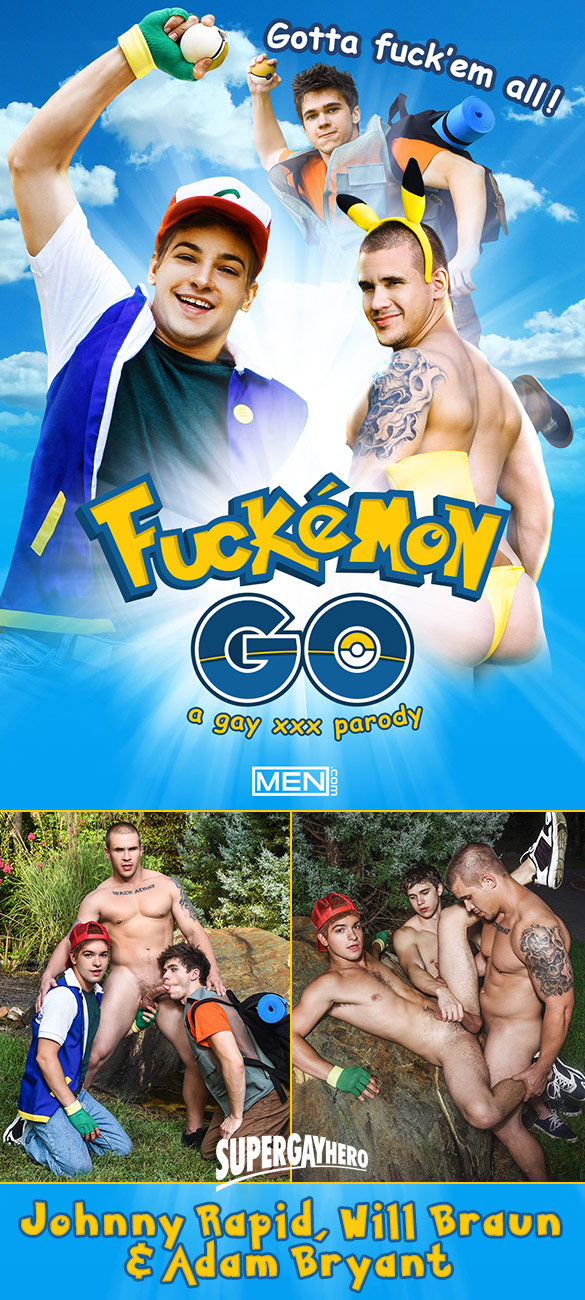 "Men.com: Will Braun and Johnny Rapid bottom for Adam Bryant in ""Fuckemon Go - A Gay XXX Parody"""