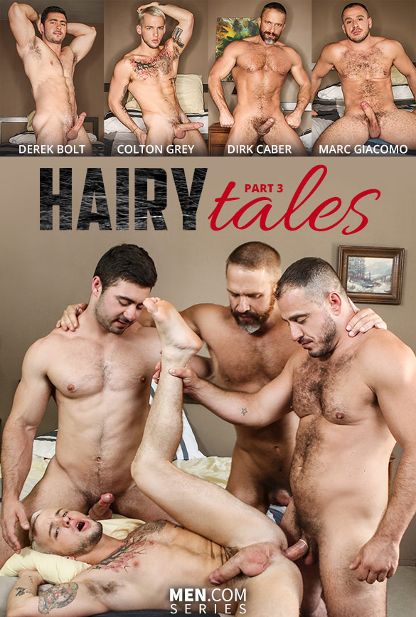 """Men.com: Colton Grey gets fucked by Derek Bolt, Dirk Caber and Marc Giacomo in """"Hairy Tales, Part 3: Bear to the Bone"""""""