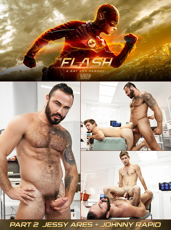 "Men.com: Jessy Ares fucks Johnny Rapid in ""The Flash – A Gay XXX Parody, Part 3"""