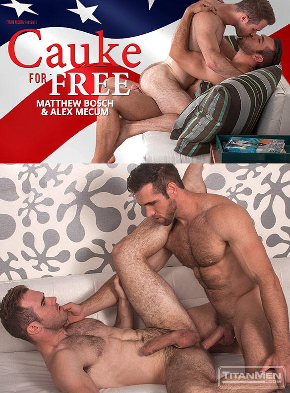 "TitanMen: Big-dicked studs Matthew Bosch and Alex Mecum flip fuck in ""Cauke for Free"""