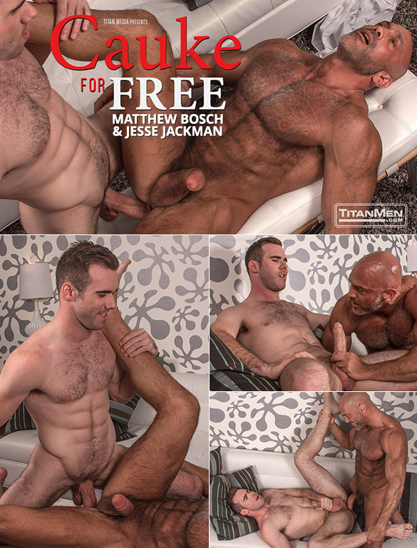 "TitanMen: Matthew Bosch and Jesse Jackman fuck each other with their massive cocks in ""Cauke for Free"""