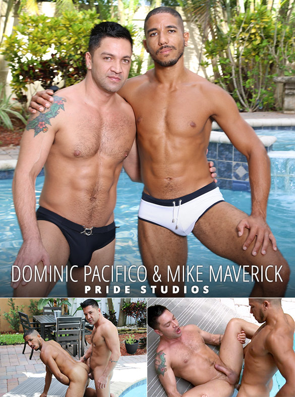 "Pride Studios: Dominic Pacifico and Mike Maverick flip fuck in ""Pool Side Encounter"""