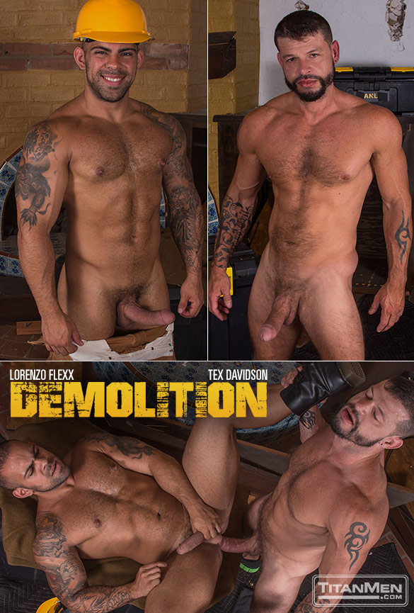 "TitanMen: Lorenzo Flexx takes Tex Davidson's huge cock in ""Demolition"""