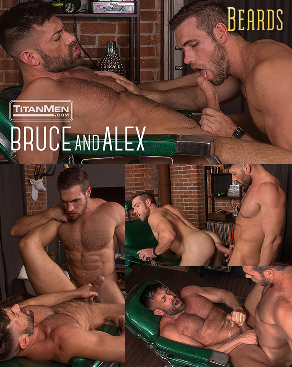"TitanMen: Big-dicked hunks Alex Mecum and Bruce Beckham fuck each other in ""Beards"""