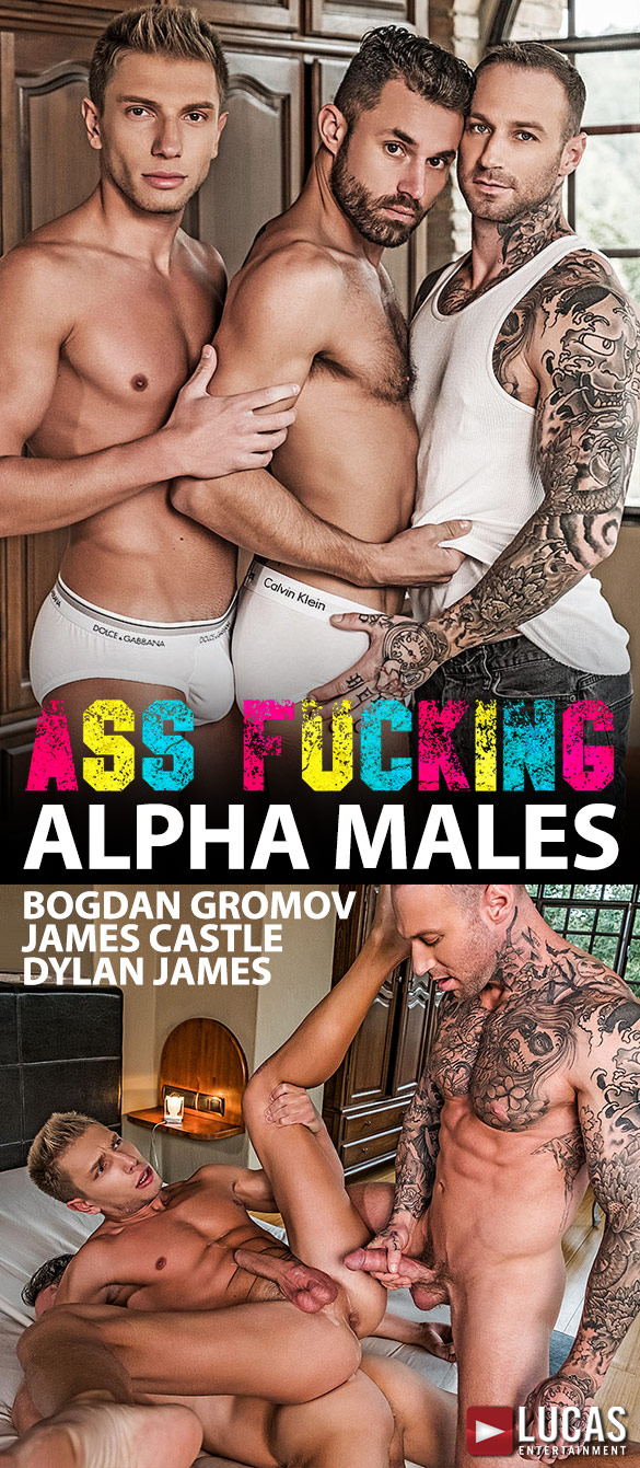 "Lucas Entertainment: Dylan James pounds Bogdan Gromov and James Castle raw in ""Ass Fucking Alpha Males"""