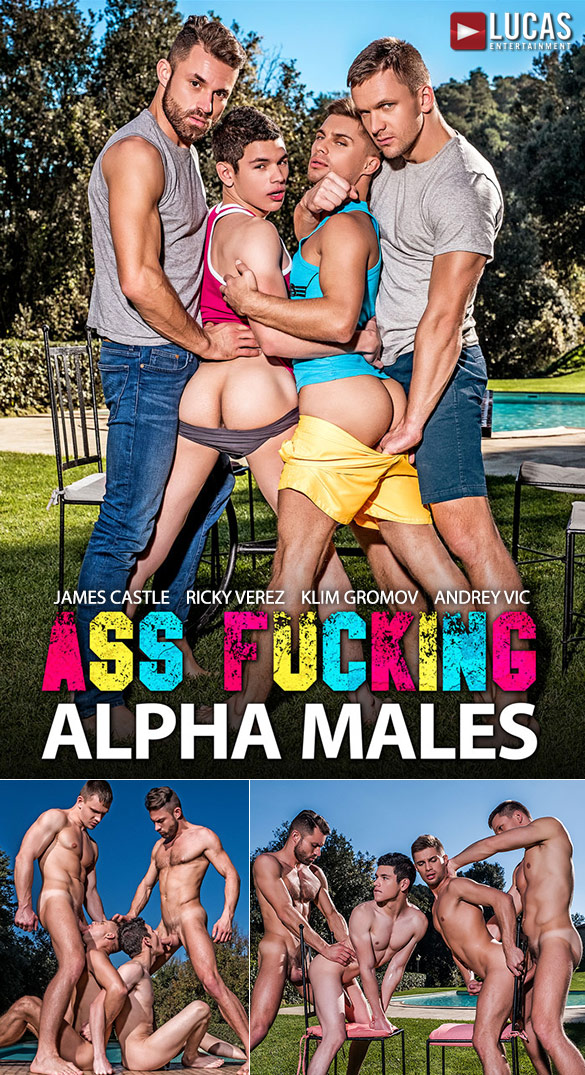 "Lucas Entertainment: Klim Gromov and Ricky Verez bottom for James Castle and Andrey Vic in ""Ass Fucking Alpha Males"""