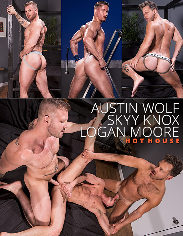"HotHouse: Skyy Knox gets tag teamed by Austin Wolf and Logan Moore in ""Blindfolded"""