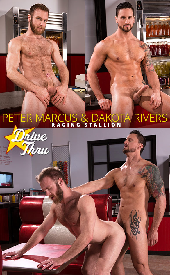 "Raging Stallion: Dakota Rivers bangs Peter Marcus in ""Drive Thru"""