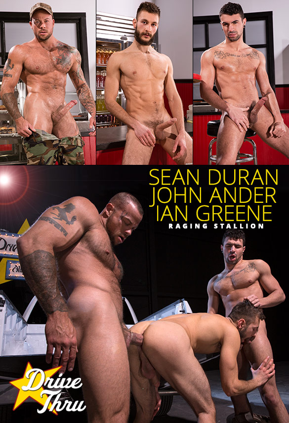 """Raging Stallion: Ian Greene and John Ander get pounded by Sean Duran in """"Drive Thru"""""""