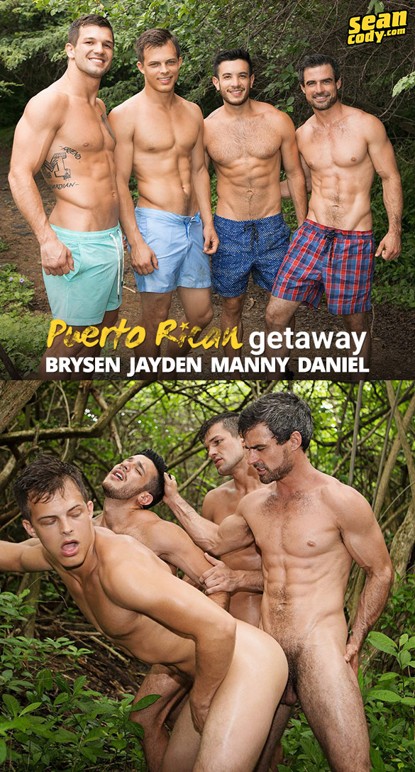 "Sean Cody: Brysen, Daniel, Jayden and Manny's wild and raw fourway in ""Puerto Rican Getaway, Day 4"""