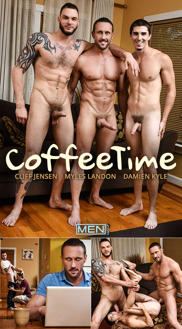 """Men.com: Damien Kyle bottoms for big-dicked Myles Landon and Cliff Jensen in """"Coffee Time"""""""