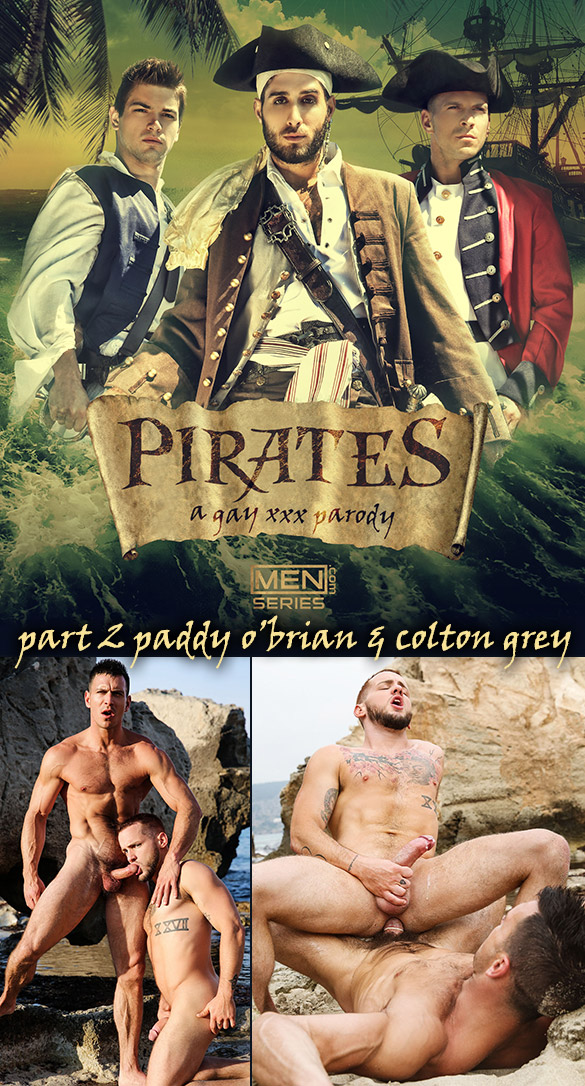 """Men.com: Colton Grey rides Paddy O'Brian's thick cock in """"Pirates: A Gay XXX Parody, Part 2"""""""