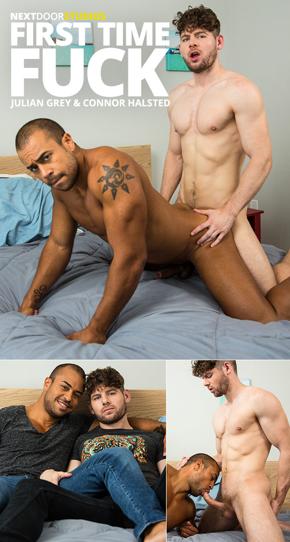 "Next Door Studios: Connor Halsted barebacks Julian Grey in ""First Time Fuck"""