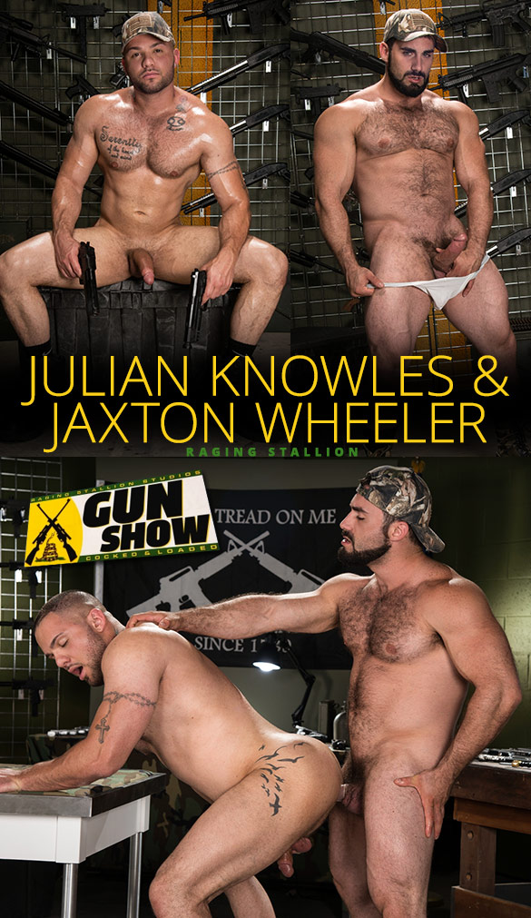 "Raging Stallion: Jaxton Wheeler bangs Julian Knowles in ""Gun Show"""