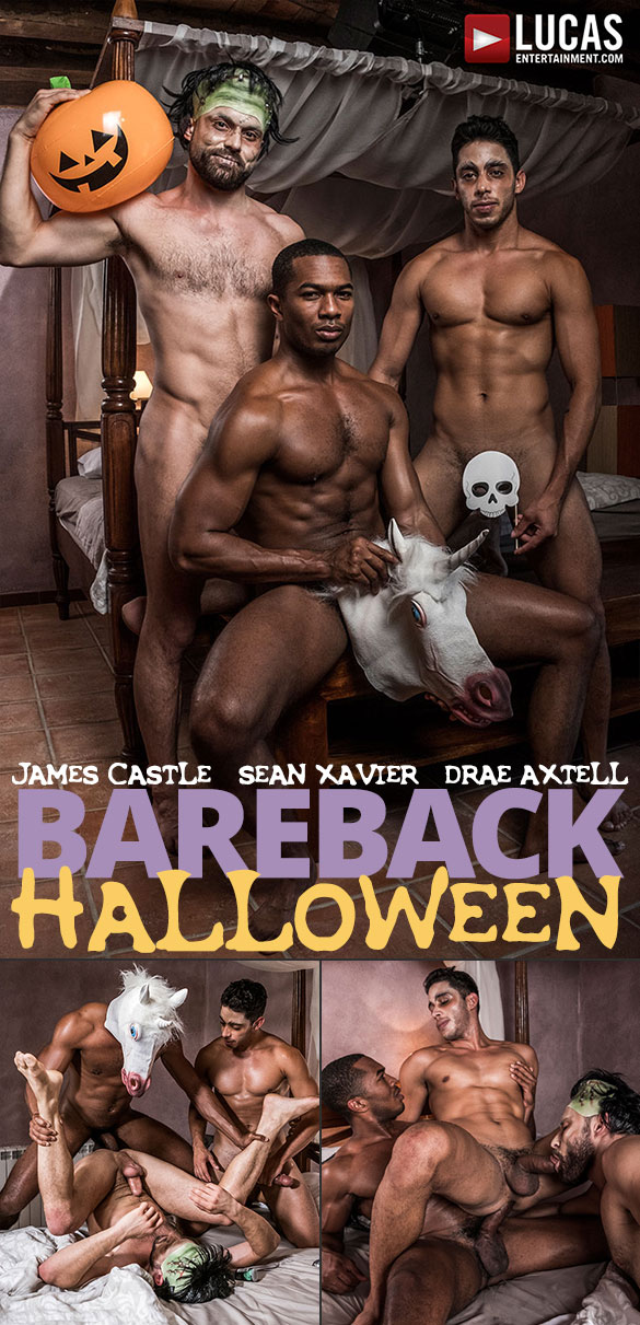 "Lucas Entertainment: Drae Axtell and James Castle get fucked by horse-hung Sean Xavier in ""Bareback Halloween"""