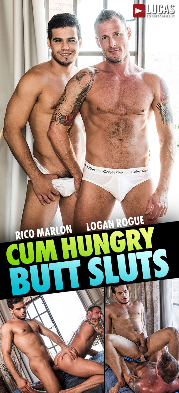 "Lucas Entertainment: Rico Marlon and Logan Rogue bang each other raw in ""Cum Hungry Butt Sluts"""
