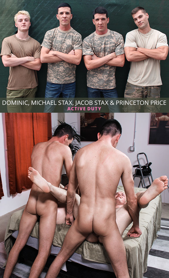 ActiveDuty: Princeton Price and Dominic get fucked raw by the Stax twins