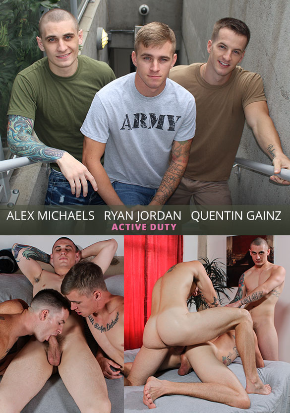 ActiveDuty: Ryan Jordan bottoms bareback for Quentin Gainz and newcomer Alex Michaels