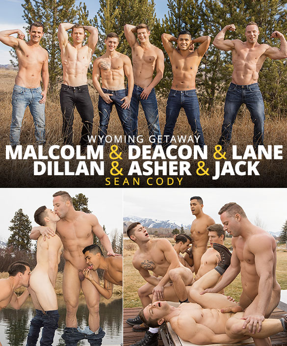 "Sean Cody: Asher, Deacon, Dillan, Jack, Lane and Malcolm's hot bareback orgy in ""Wyoming Getaway, Part 4"""