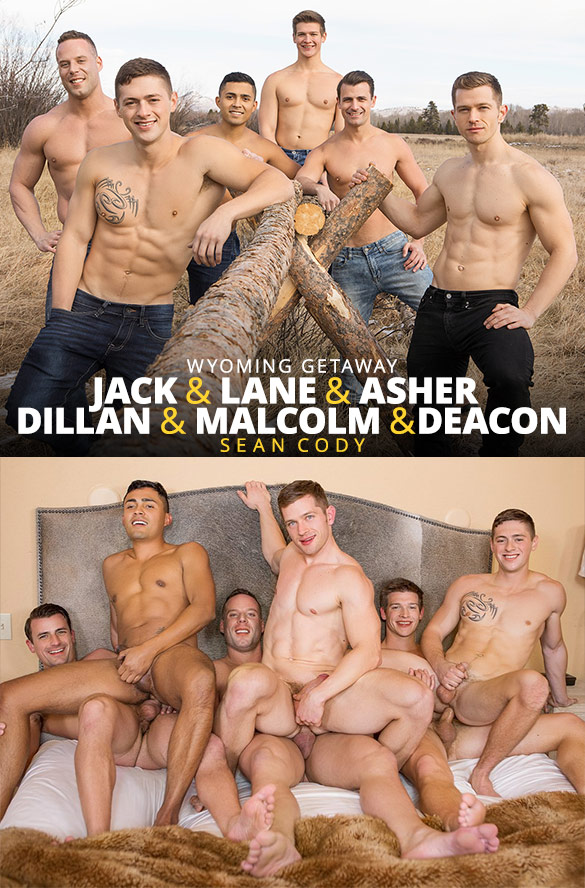 "Sean Cody: Jack, Dillan and Malcolm fuck Asher, Deacon and Lane raw in ""Wyoming Getaway, Part 5"""