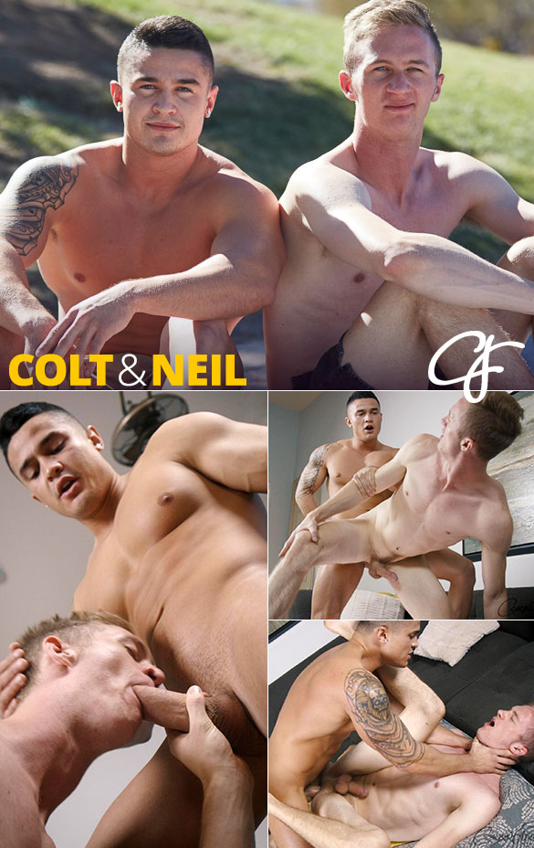 CorbinFisher: Neil rides Colt's thick cock bareback