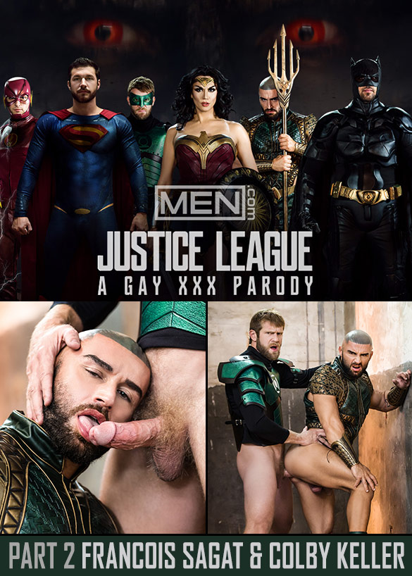 "Men.com: Colby Keller bangs Francois Sagat in ""Justice League: A Gay XXX Parody, Part 2"""