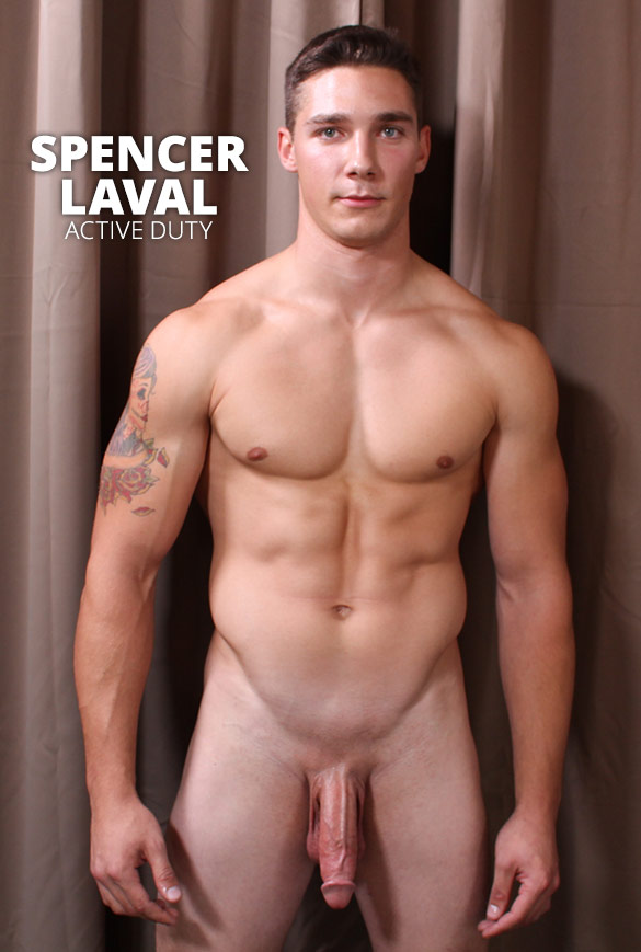 ActiveDuty: Big-dicked muscle jock Spencer Laval rubs one out