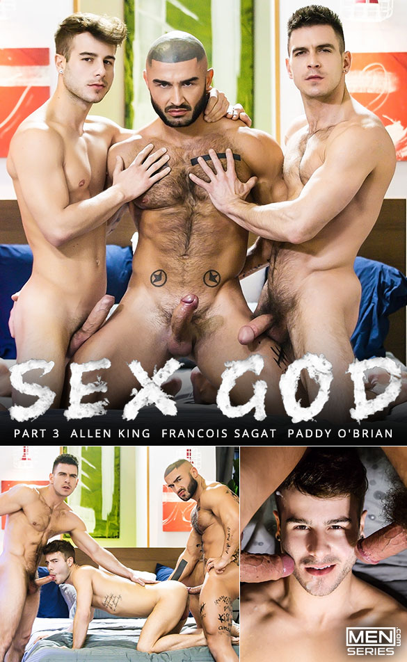 "Men.com: Paddy O'Brian and Francois Sagat tag team Allen King in ""Sex God, Part 3"""