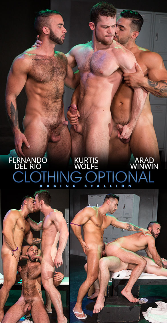 """Raging Stallion: Fernando Del Rio gets double fucked by Arad Winwin and Kurtis Wolfe  in """"Clothing Optional"""""""