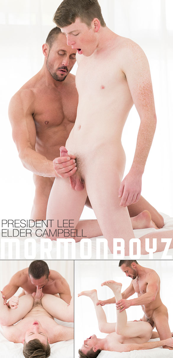 "MormonBoyz: President Lee fucks Elder Campbell's tight twink hole bareback in ""Second Anointing"""
