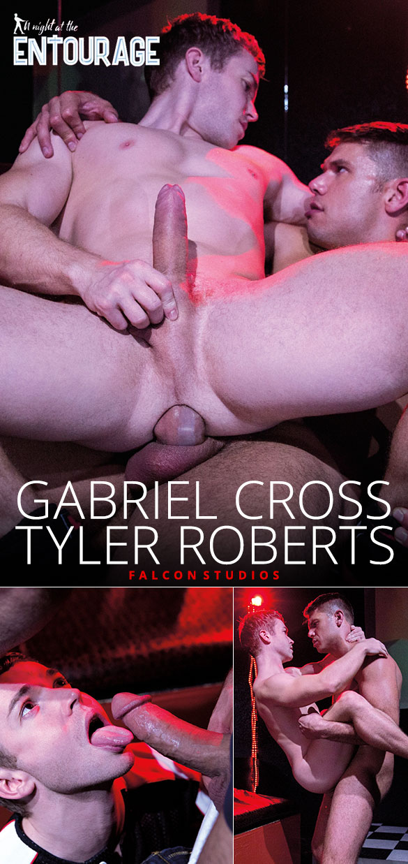 """Falcon Studios: Gabriel Cross rides Tyler Roberts' thick cock in """"A Night at the Entourage"""""""