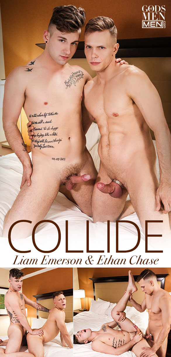 "Men.com: Ethan Chase and Liam Emerson flip fuck in ""Collide"""