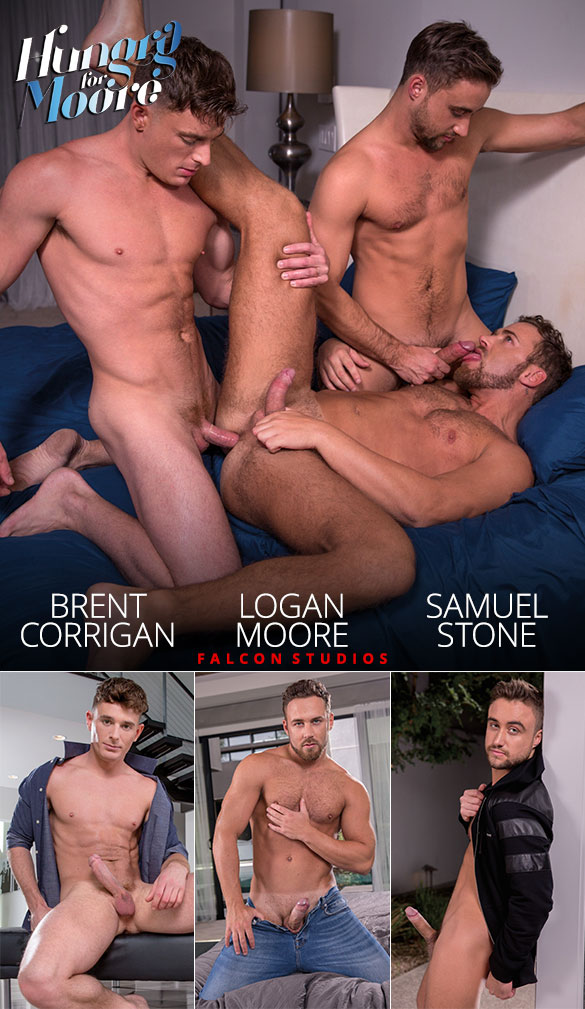 """Falcon Studios: Brent Corrigan, Logan Moore and Samuel Stone fuck each other in """"Hungry for Moore"""""""