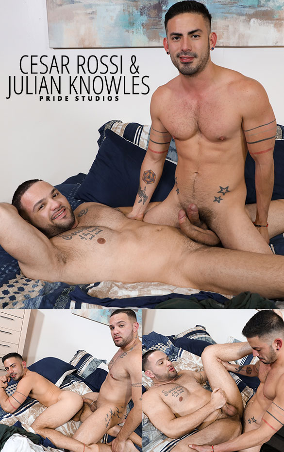 """Pride Studios: Cesar Rossi and Julian Knowles flip fuck in """"Fourth Year Lovers"""""""