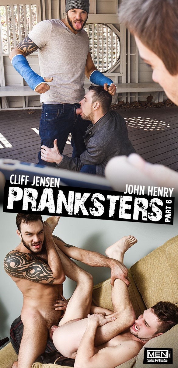"Men.com: John Henry rides Cliff Jensen's thick cock in ""Pranksters, Part 6"""
