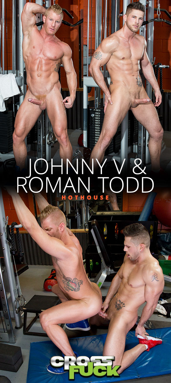 """HotHouse: Johnny V and Roman Todd bang each other in """"Cross Fuck"""""""