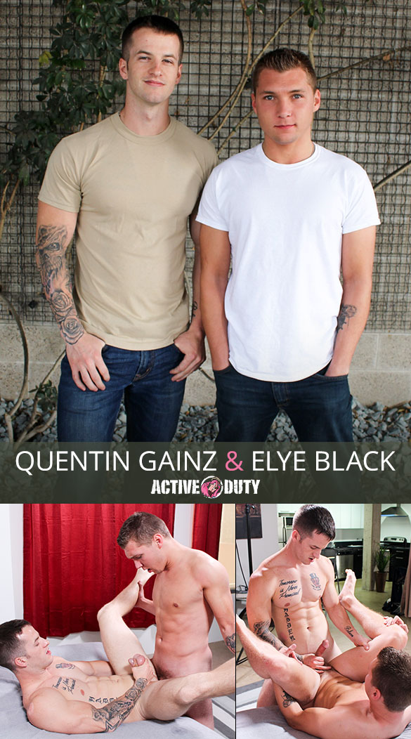 ActiveDuty: Quentin Gainz and Elye Black fuck each other raw