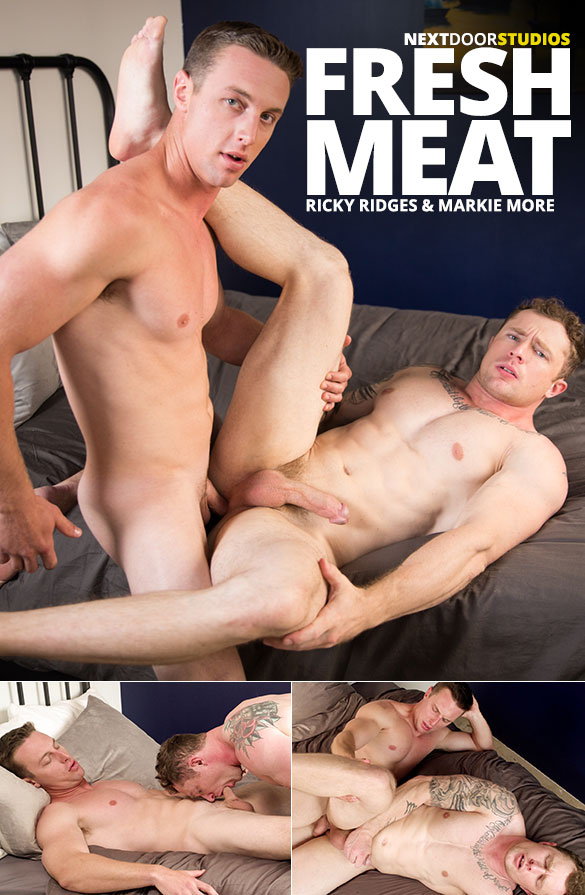 "Next Door Studios: Newcomer Ricky Ridges creams Markie More's muscle ass in ""Fresh Meat"""