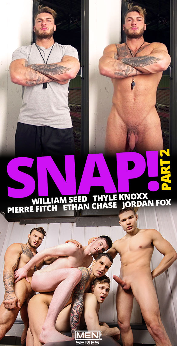 "Men.com: William Seed, Jordan Fox, Pierre Fitch, Ethan Chase and Thyle Knoxx have an orgy in ""Snap!, Part 2"""