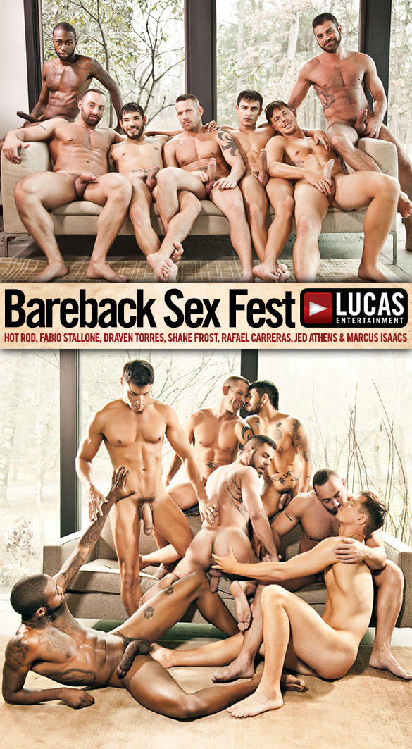 "Lucas Entertainment: Jed Athens gets double-fucked in the finale of ""Bareback Sex Fest"""