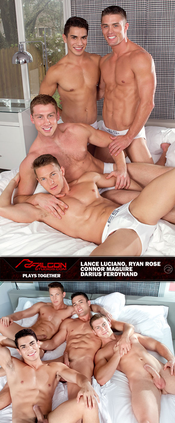 "Falcon Studios: Darius Ferdynand gets double penetrated in the finale of ""Plays Together"""