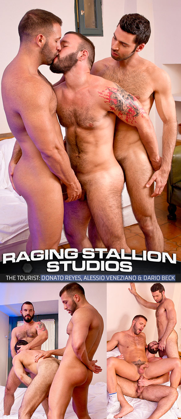 """Raging Stallion: Donato Reyes, Dario Beck and Alessio Veneziano fuck each other in """"The Tourist"""""""