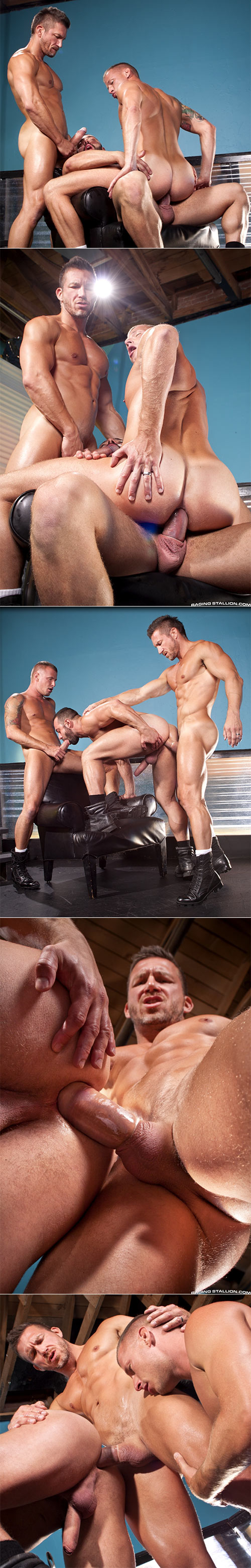 "RagingStallion: Fabio Stallone, Tomas Brand and Logan Rogue's hot threeway in ""Stripped 2: Hard For The Money"""