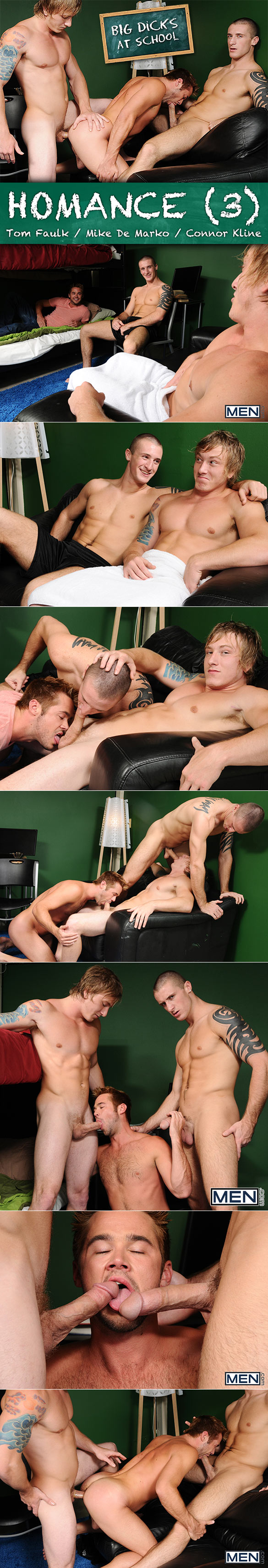 "Men.com: Connor Kline, Tom Faulk and Mike De Marko's hot threeway in ""Homance, Part 3"""