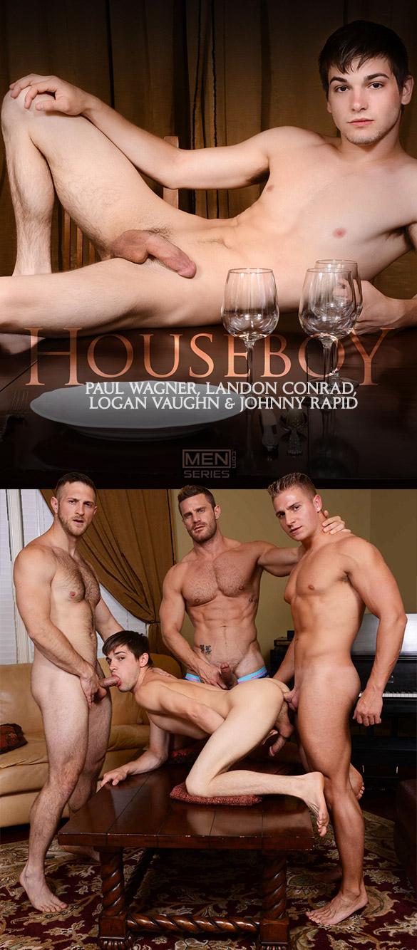 "Men.com: Johnny Rapid gets fucked by Landon Conrad, Logan Vaughn and Paul Wagner in ""Houseboy, Part 3"""
