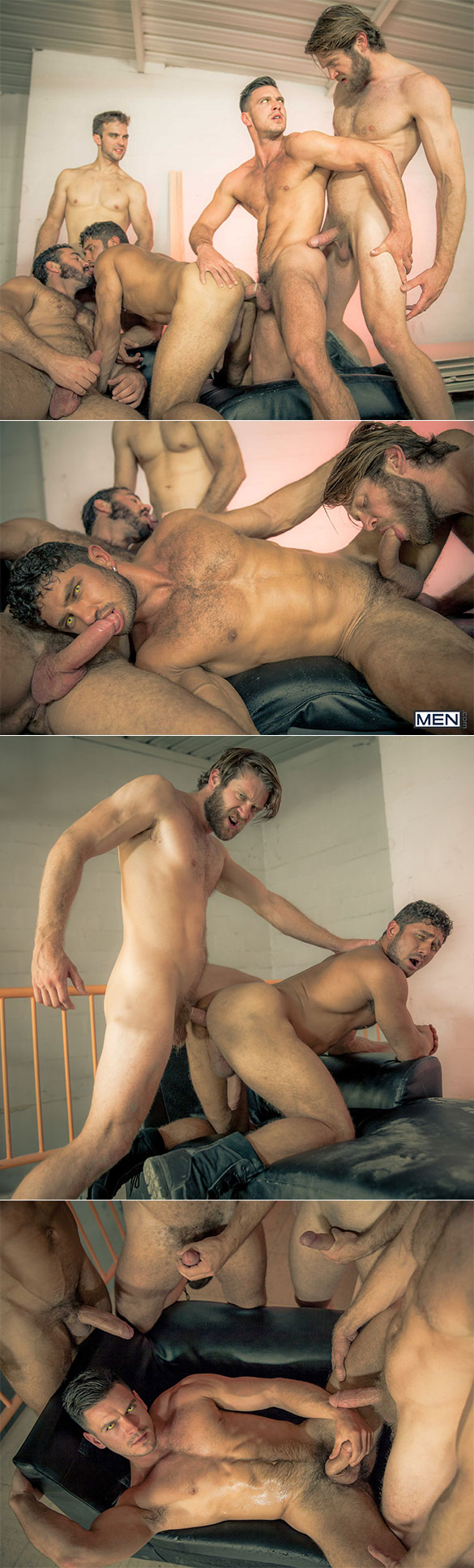 "Men.com: Paddy O'Brian bottoms for Colby Keller, Dato Foland, Gabriel Clark and Jessy Ares in ""Howl, Part 4"""
